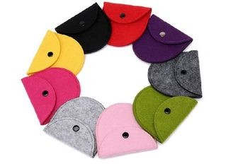 China 43 Kinds Of Color Handmade Felt Coin Bags 11.5*9.5 Cm Small Felt Bags supplier