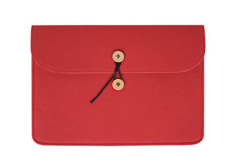 China Free Sample Red Felt Laptop Sleeve Case Cover Bag With Button Decoration supplier